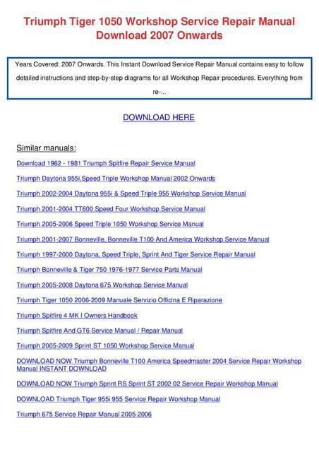 triumph tiger 955i 2001 workshop service repair manual